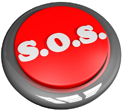 Button with the letters SOS on it signifying our import export emergency service